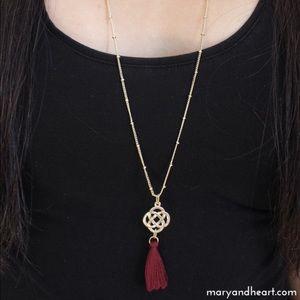 Long Gold Chain Burgundy Tassel Necklace